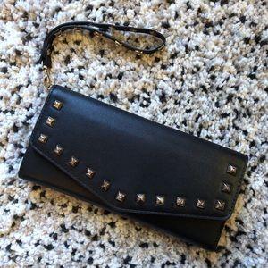 Aldo black vegan studded wallet wristlet clutch